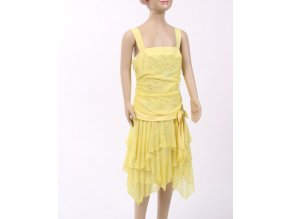 Amy*s closet dětské/dívčí šaty žluté se stříbrnou výšivkou motýlků