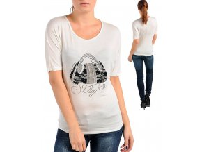 MOA U.S.A. dámské tričko bílé smetanové