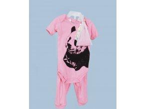 COTTON CANDY dětská růžová souprava - obrázek pandy