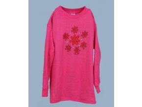 MIS TEE V-US dětské tričko růžové s květinami a s dlouhým rukávem
