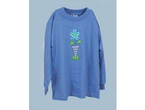 MIS TEE V-US dětské tričko modré s obrázkem květiny a s dlouhým rukávem