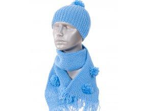 Glory dětský pletený set modrý, čepice, šála - ruční výroba