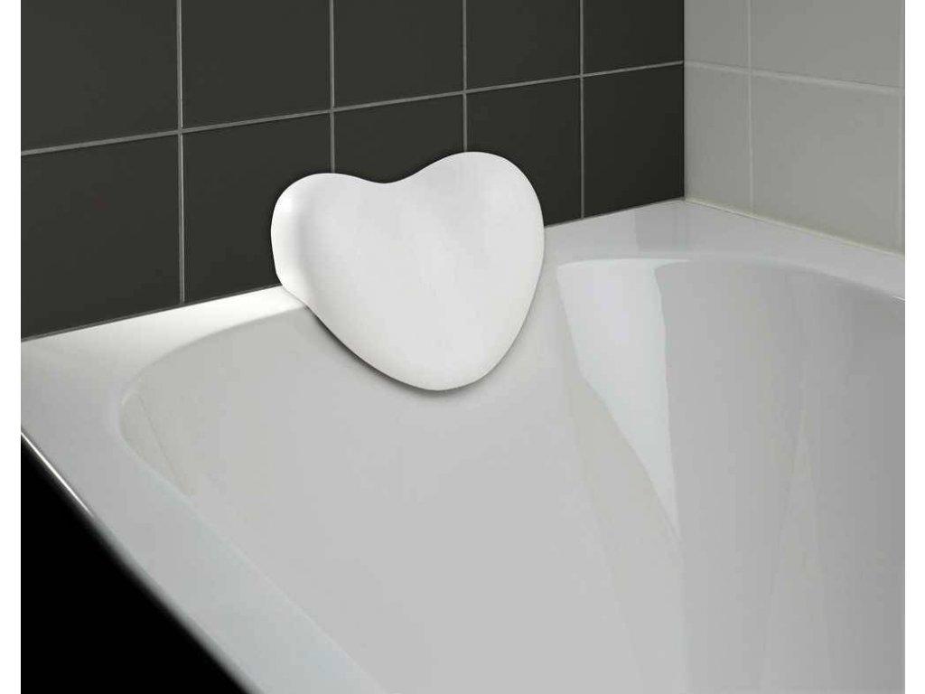 Vanový polštář, bílý, tvar srdce