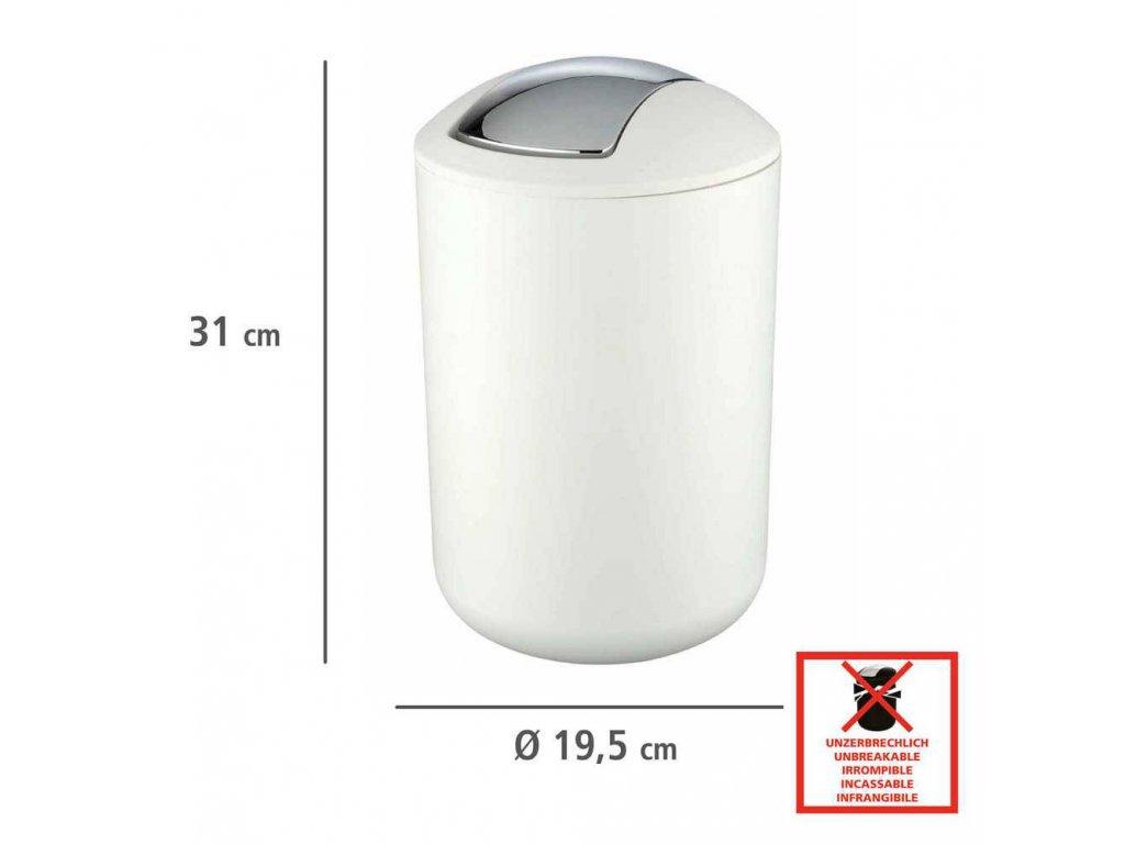 Koupelnový koš odpadkový BRASIL, bílý, 6,5 l