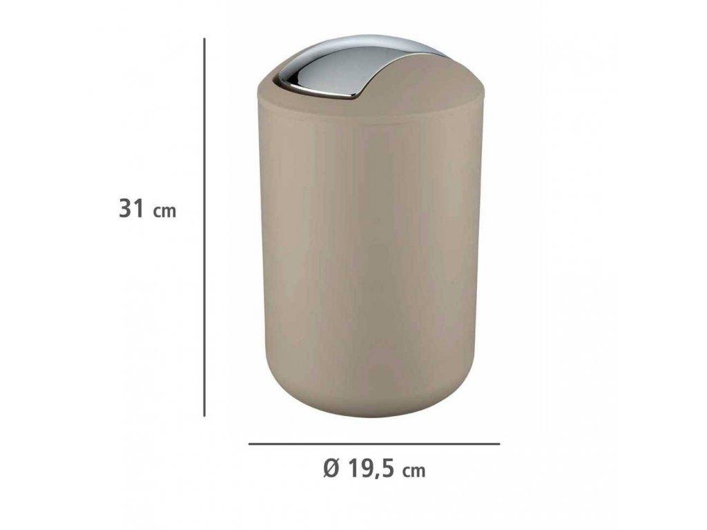 Koupelnový koš odpadkový BRASIL, béžový, 6,5 l