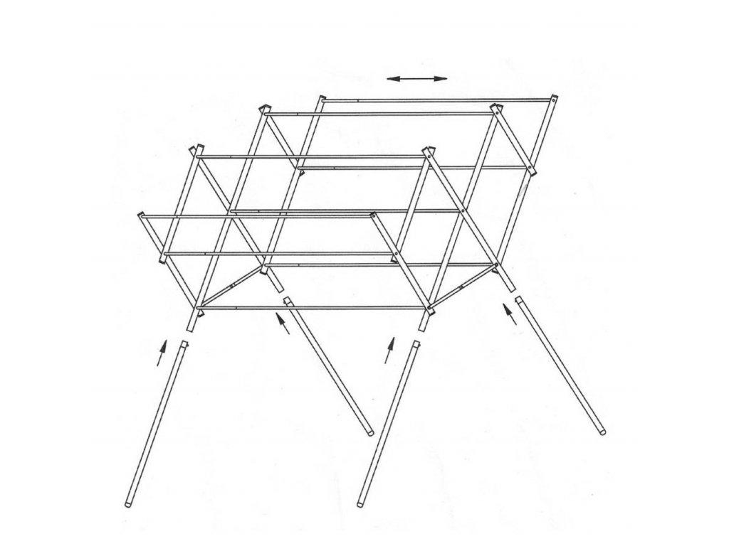 Teleskopický sušák na prádlo 54 -92 x 64 x 96 cm