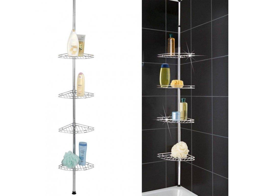 Rohová teleskopická koupelna police pro sprchu, 4 úrovně