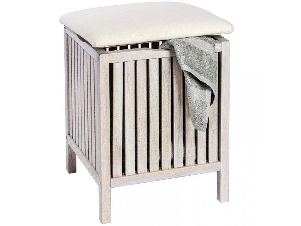 Pouf NORWAY WHITE, koš na prádlo - 2v1