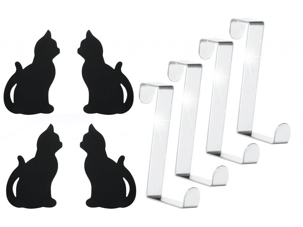 Háčky na dveře CAT, ve tvaru kočky, 4 háčky