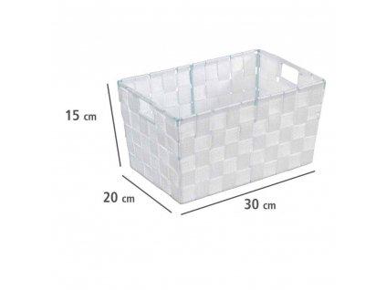Bílý koupelnový organizér ADRIA WHITE, 30 x 20 x 15 cm