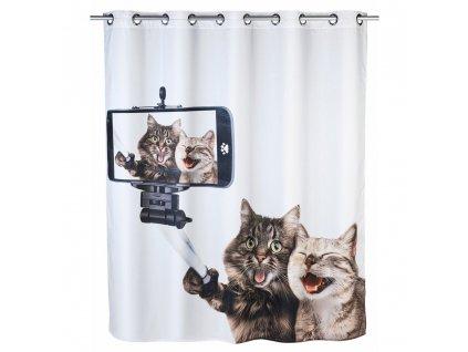 Textilní sprchový závěs SELFIE CAT, 180 x 200