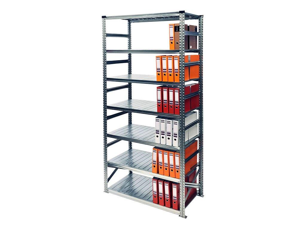 Archivní regál na šanony-2500x1050x600 mm-7 polic-základní