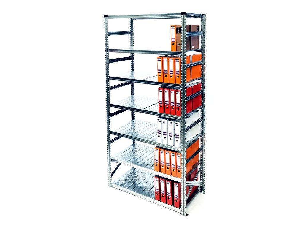 Archivní regál na šanony,2500x1650x600 mm-7 polic-základní