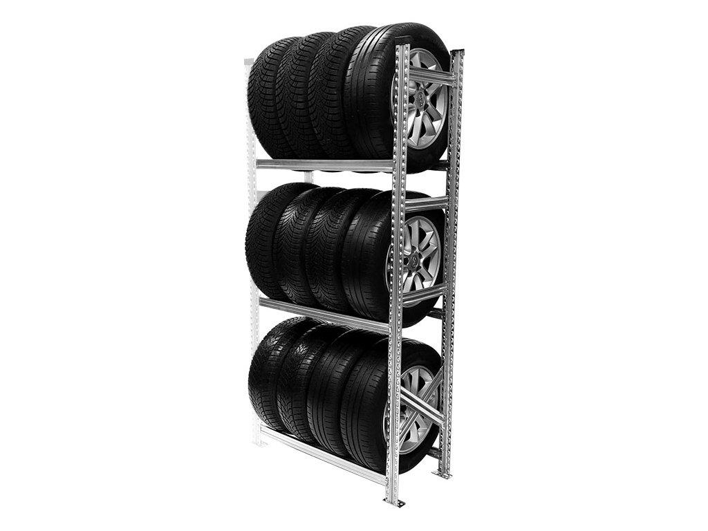 Regál na pneumatiky,1972x900x500 mm,3 police,přídavný