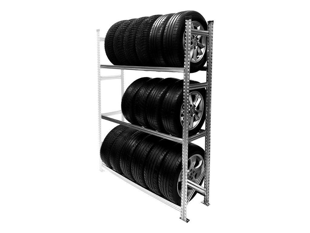 Regál na pneumatiky,1972x1500x400 mm,3 police,přídavný