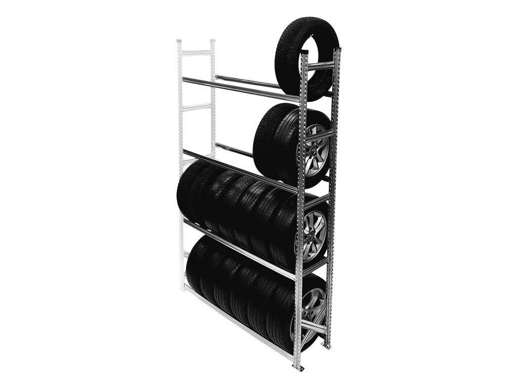 Regál na pneumatiky,2500x1500x400 mm,4 police,přídavný