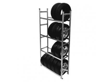 Regál na pneumatiky,2500x1200x400 mm,4 police,základní