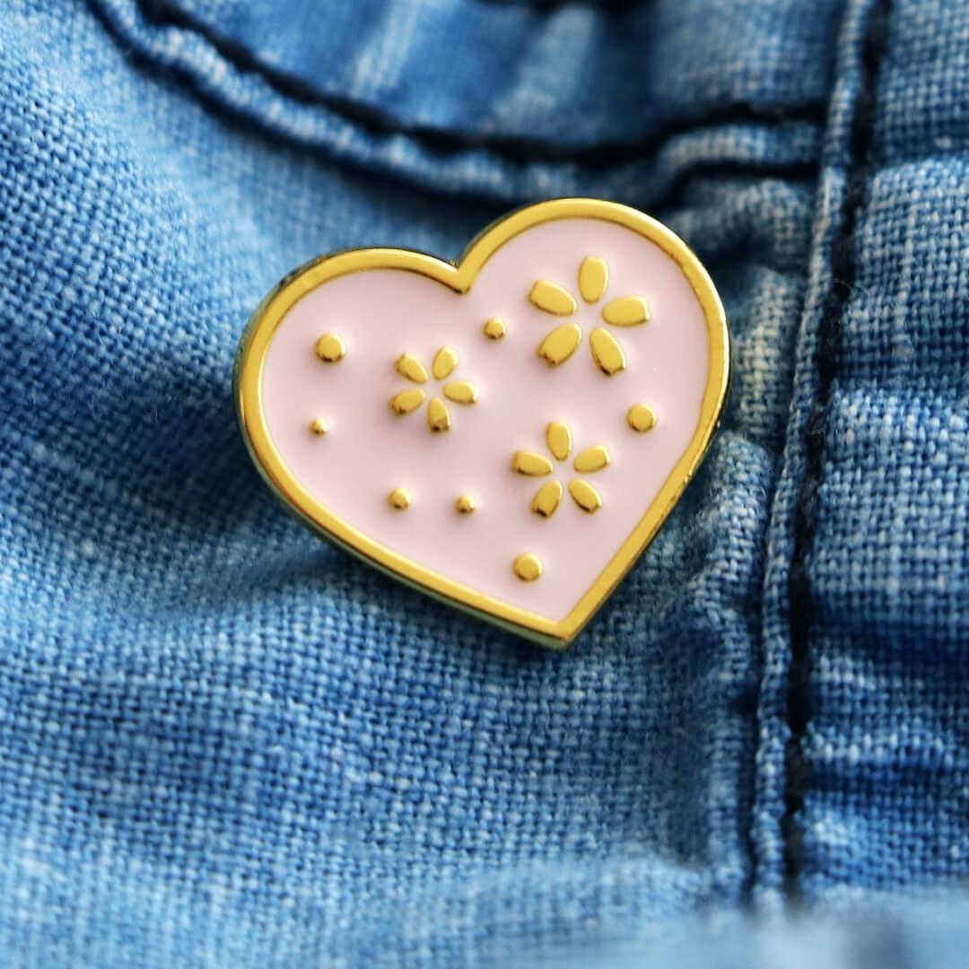 Brož - růžové srdce