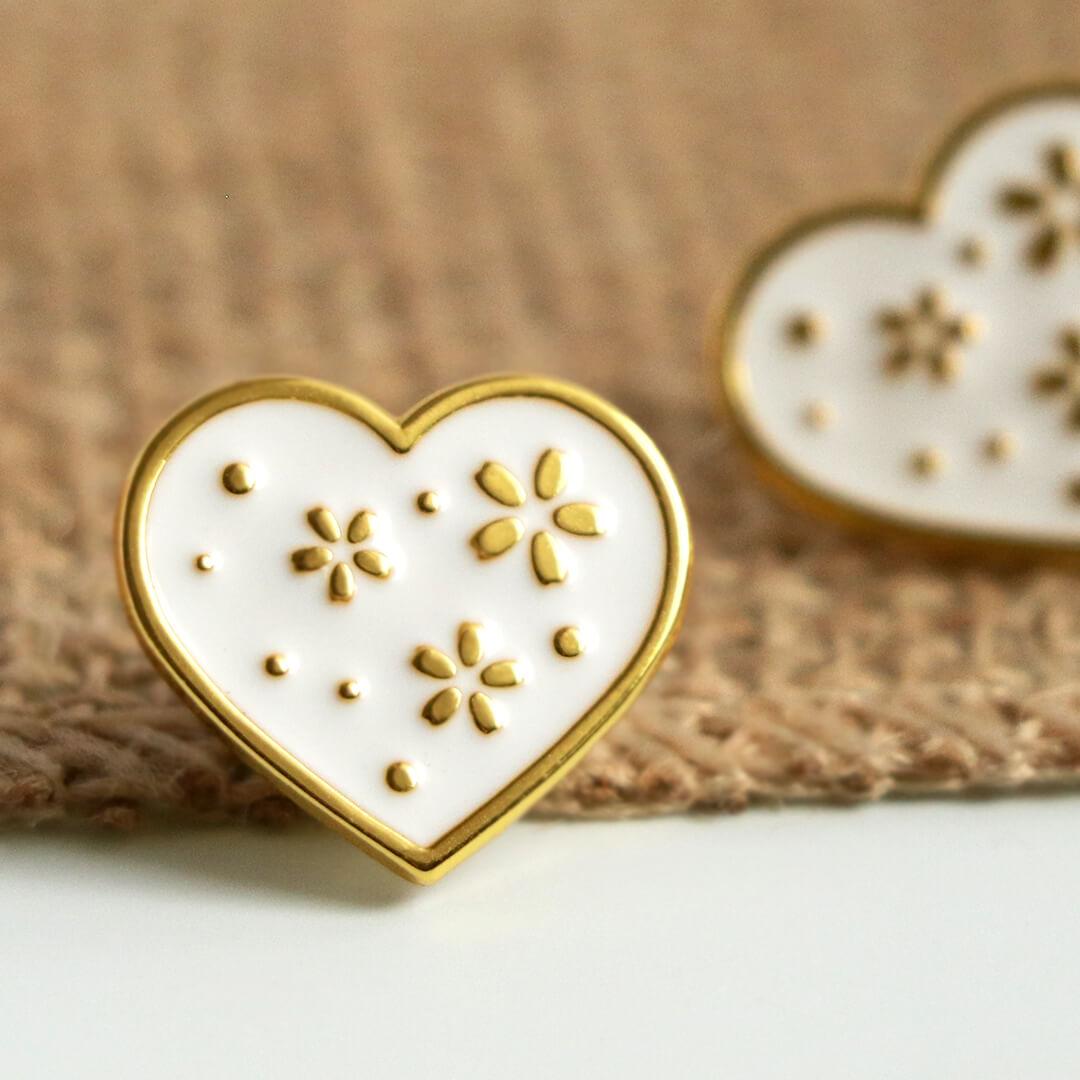 Brož - bílé srdce
