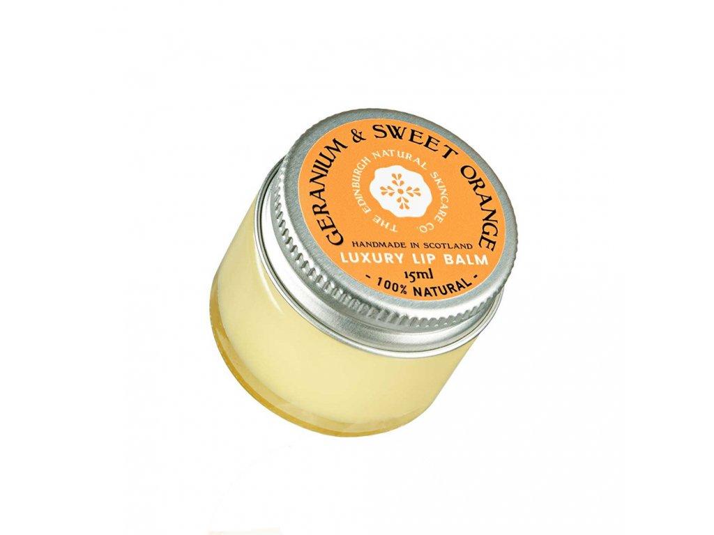 EDINBURGH SKINCARE Luxusní balzám na rty pelargónie a sladký pomeranč