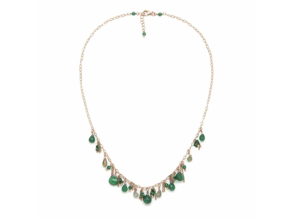 Náhrdelník s kapkami a drahými kameny - varianta zelený turmalín a malachitový achát