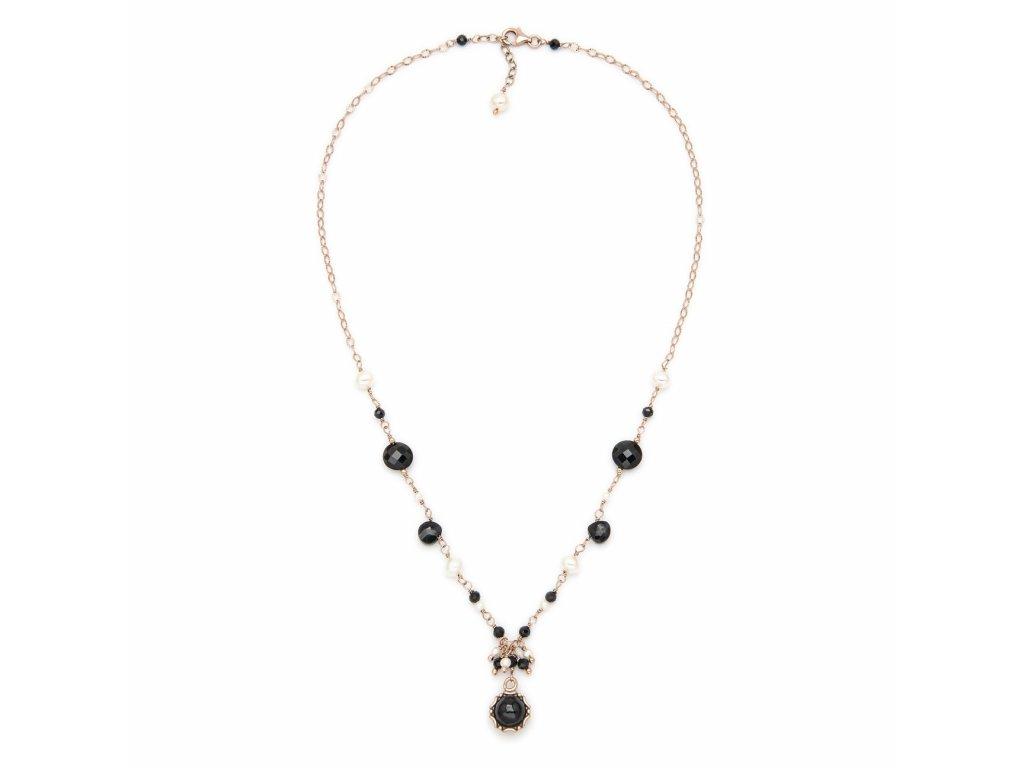 Náhrdelník s černými spinely a přírodními perlami