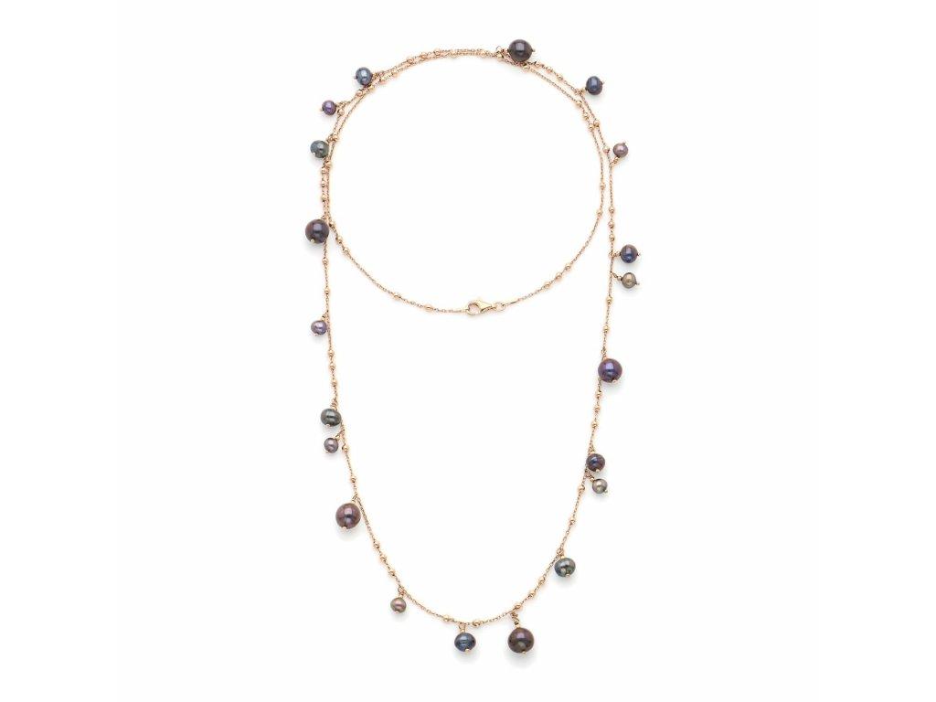 Dlouhý náhrdelník se zavěšenými černými perlami, ISHWARA