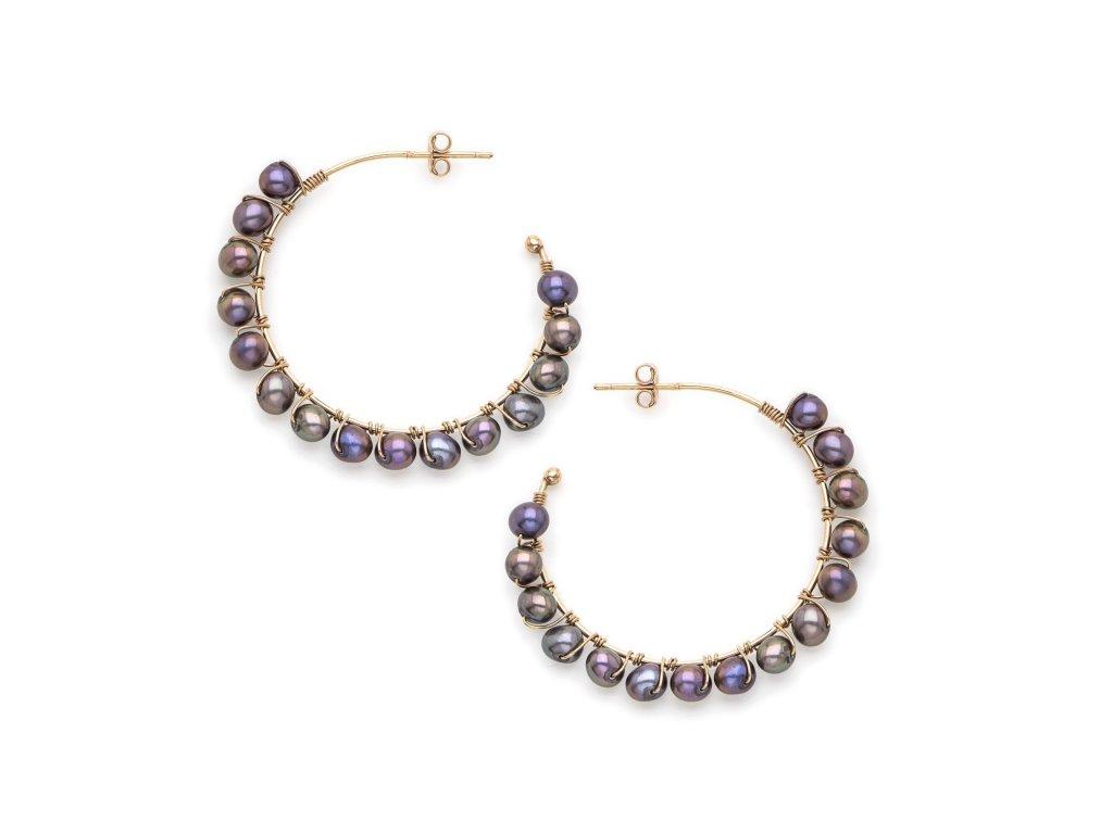 Kruhové náušnice se sladkovodními perlami - v provedení černé perly