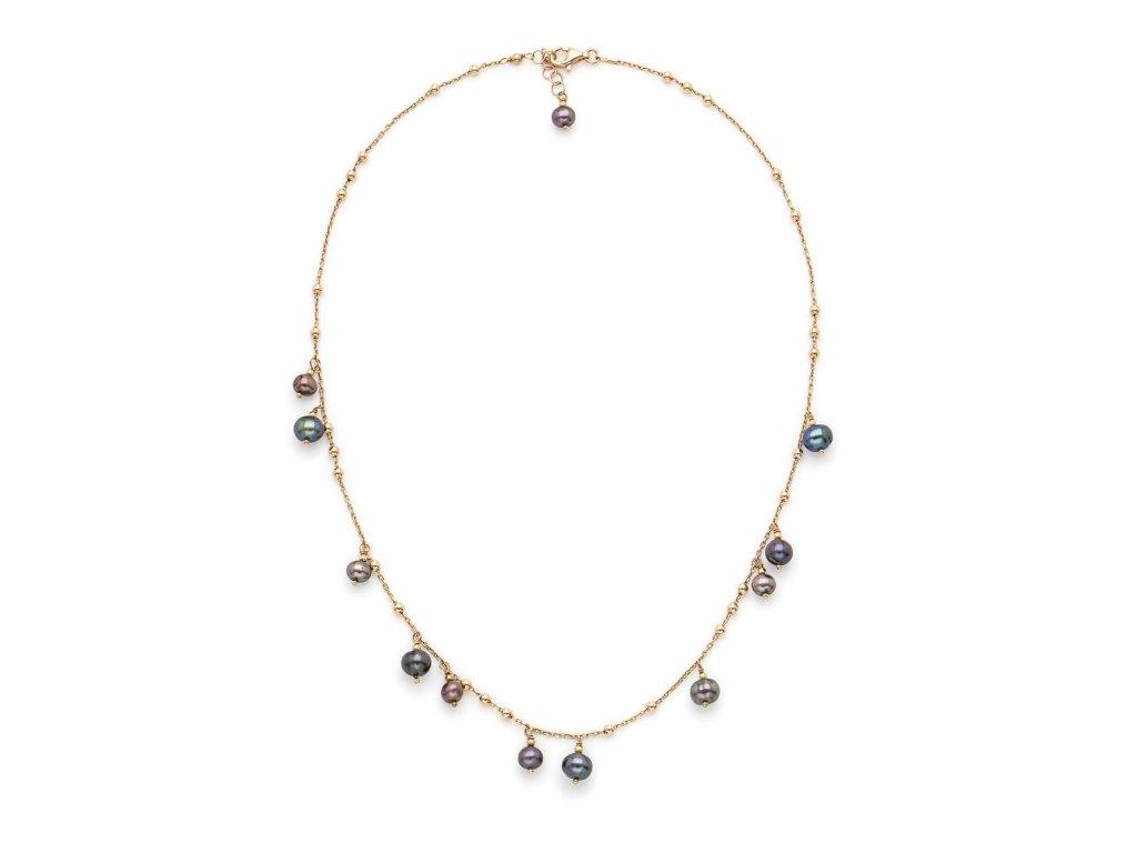 Náhrdelník se zavěšenými perlami - provedení černé perly