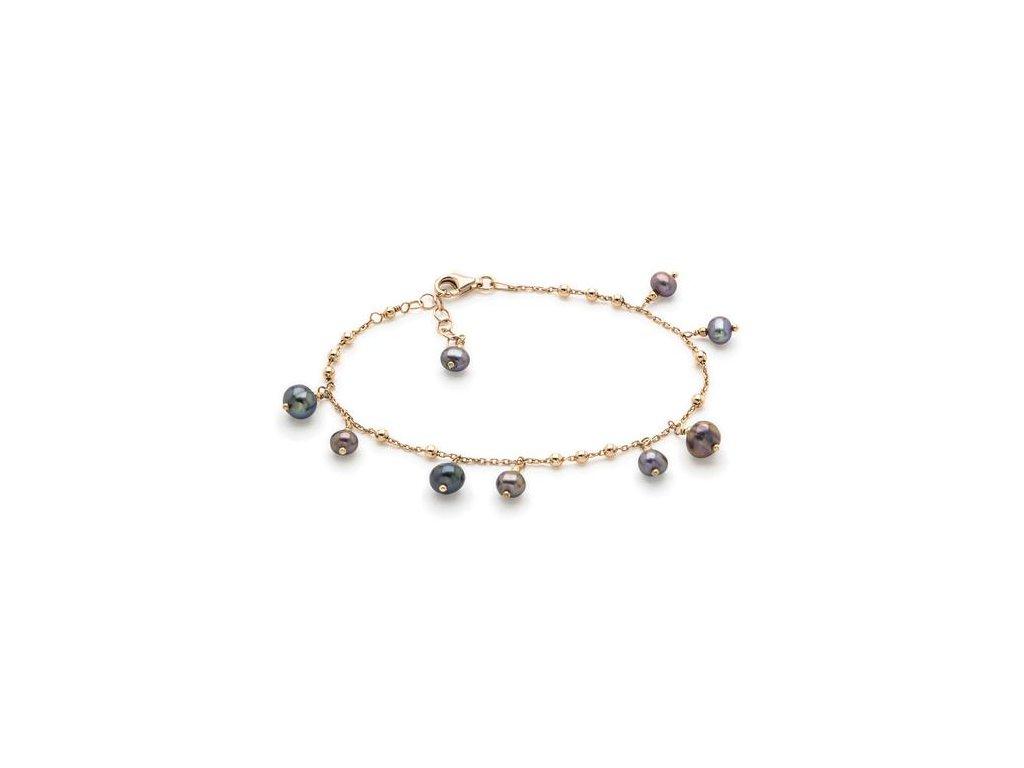 Náramek se zavěšenými černými perlami