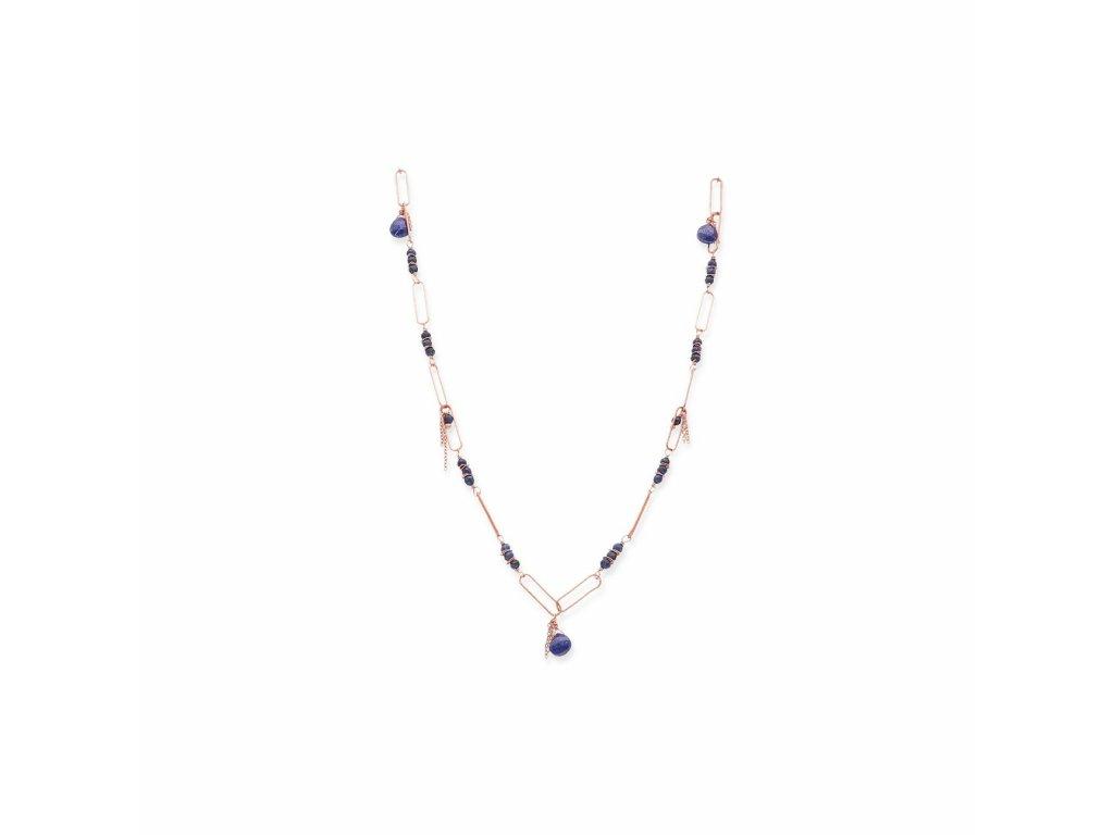 Dlouhý náhrdelník s obdélníkovým řetízkem - provedení s lapisem
