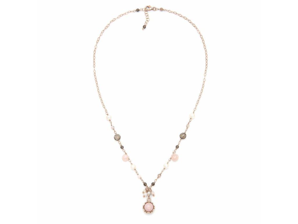 Náhrdelník s růžovými opály, kouřovým křemenem a přírodními perlami