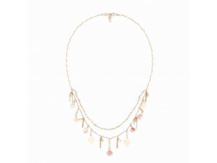 Dvouřadý náhrdelník s přívěsky a drahými kameny - s růžovým opálem