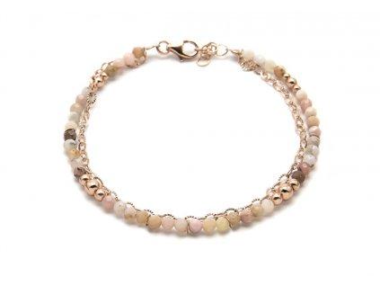 Dvouřadý náramek s drahými kameny - s růžovým opálem