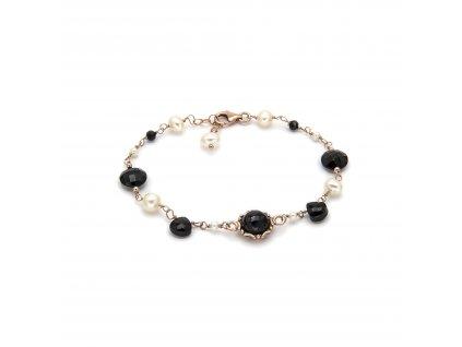 Náramek s černým onyxem, spinely a přírodními sladkovodními perlami, ISHWARA