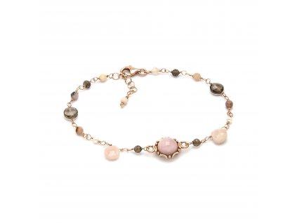 Náramek s růžovými opálem, kouřovým křemenem a přírodními perlami
