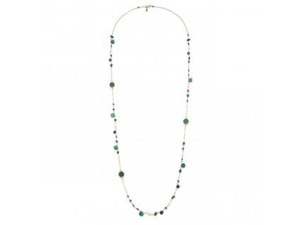 Dlouhý náhrdelník s achátem, ametystem, rubínem a perlami