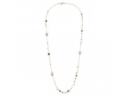 Dlouhý náhrdelník s růžovými opály, kouřovým křemenem a přírodními perlami