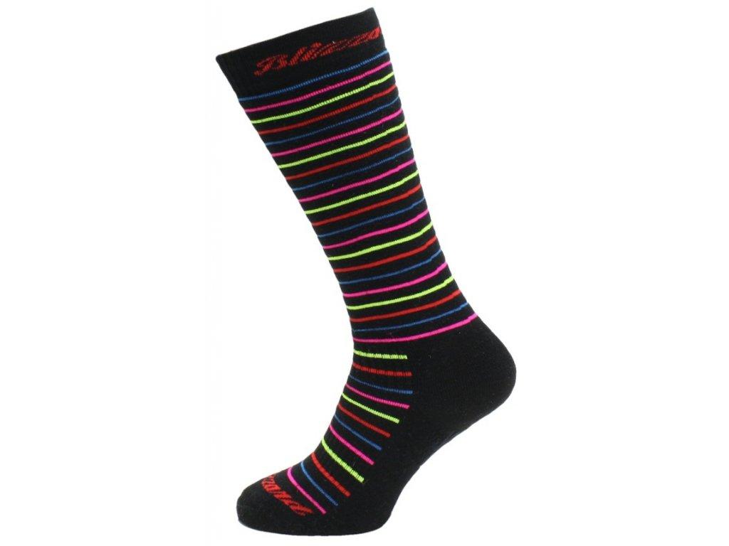 lyžařské ponožky BLIZZARD Viva Allround ski socks, black/rainbow stripes, AKCE