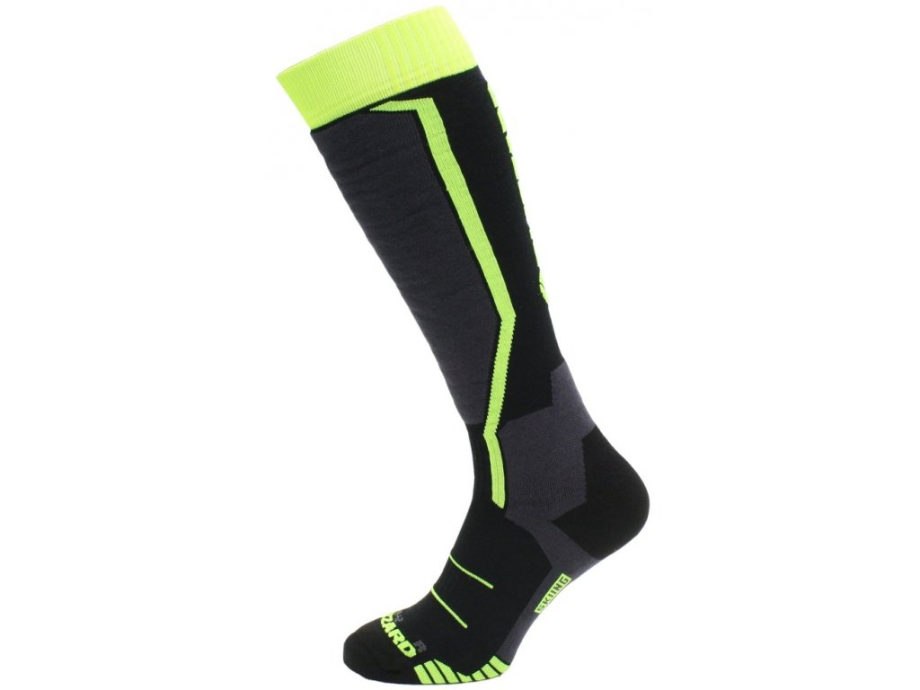 lyžařské ponožky BLIZZARD Allround ski socks junior, black/anthracite/signal yellow