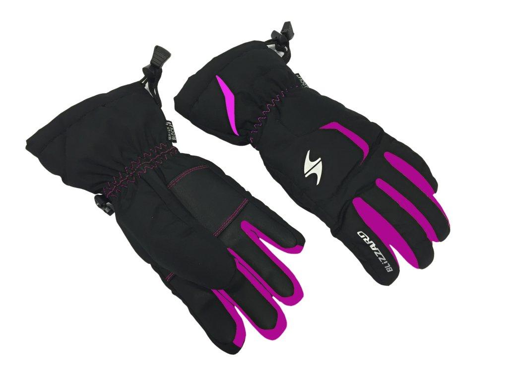 lyžařské rukavice BLIZZARD Rider junior, black/pink