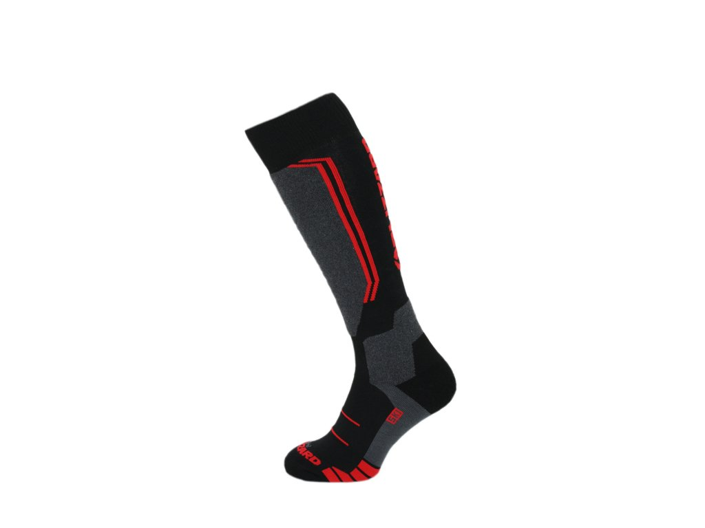 lyžařské ponožky BLIZZARD Allround wool ski socks, black/anthracite/red
