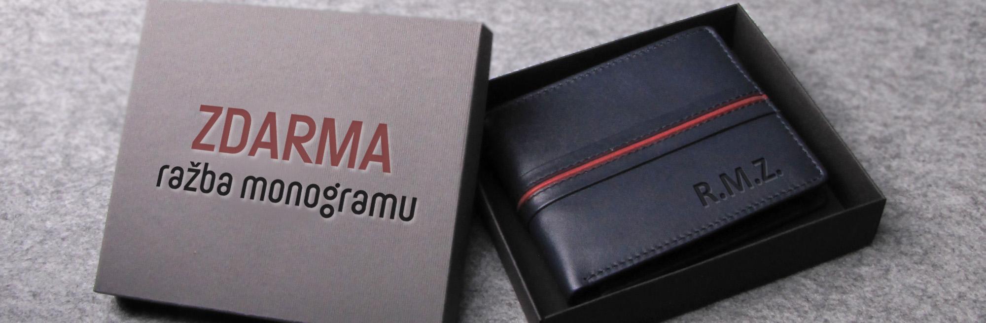 peněženka RED LINE ražba monogramu zdarma