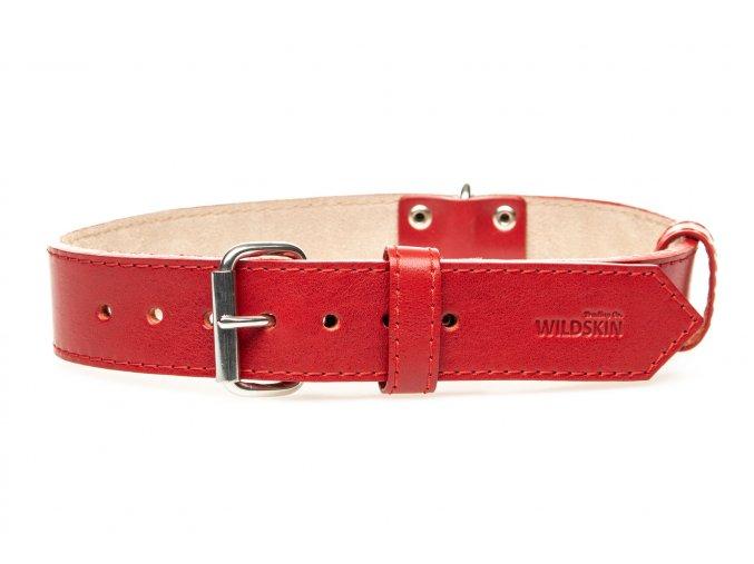 OBV.100160 CERV Kožený obojek s velurem červený 40 mm (2)