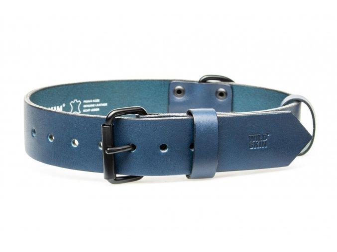 OBV.100165 MOD Kožený obojek modrý 40 mm (1)