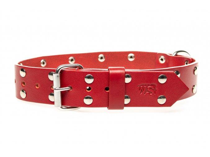 OBV.100180 CERV Kožený obojek nýtovaný červený 40 mm (1)