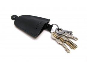 Kožený obal na klíče s taháčkem