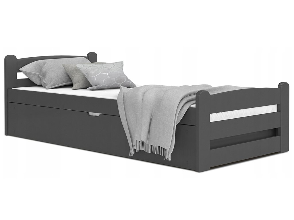 DÁVID felnyitható ágyneműtartós ágy 90x200 - szürke
