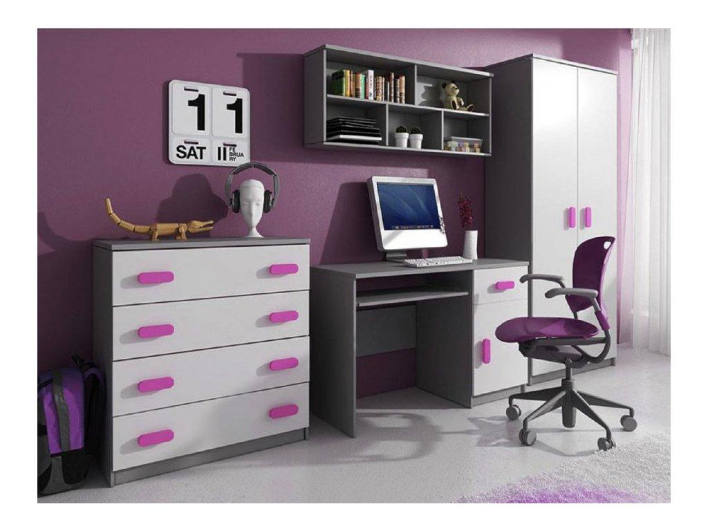 Svend szekrénysor - szürke, rózsaszín