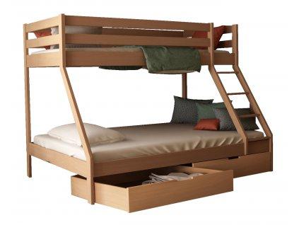 MIKAEL 200x140 emeletes ágy kiszélesített alsó fekhellyel - NATÚR
